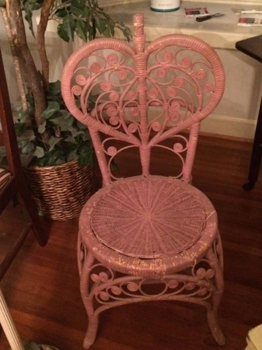 sweetheart pink wicker chair