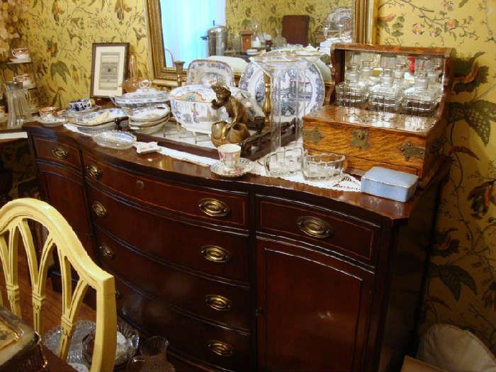 Buffet, Antique Oak Decanter Caddy
