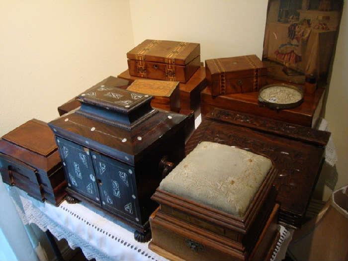 Antique Boxes, Lap Desks, Tea Caddy, Sewing, Etc