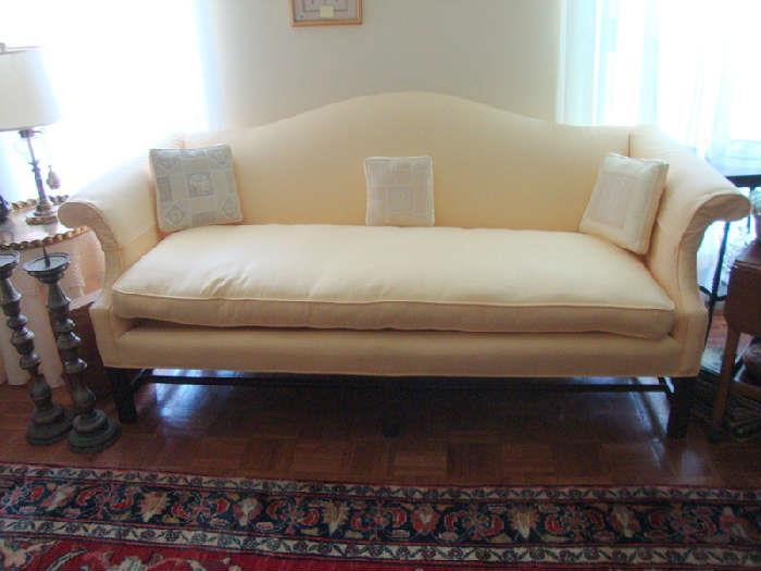 Traditional Yellow Camel Back Sofa, Richly Beautiful