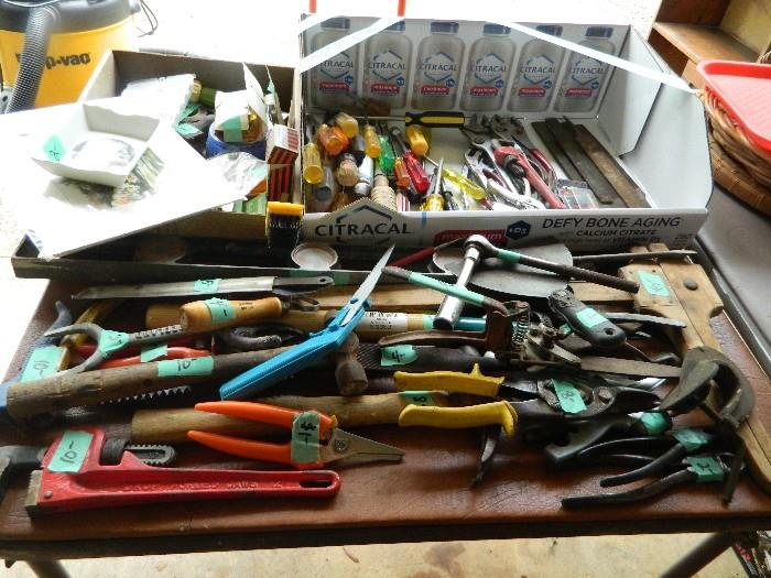 Guy stuff! lots of hand tools of all kinds- also in Garage