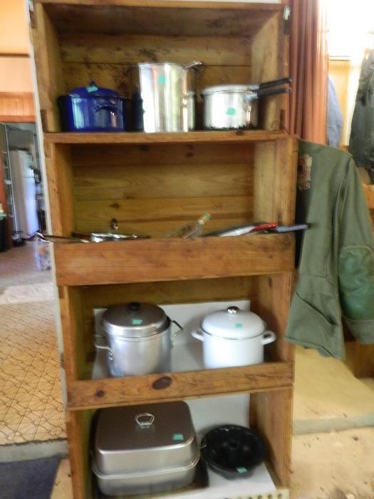 Wonderful large old crates stacked - buy one or all!  More cookware of all types.