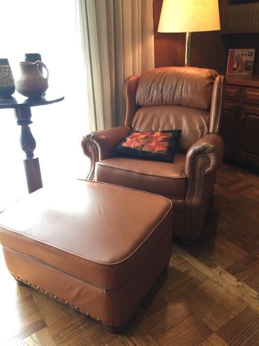 Lane Leather Chair & Ottoman.