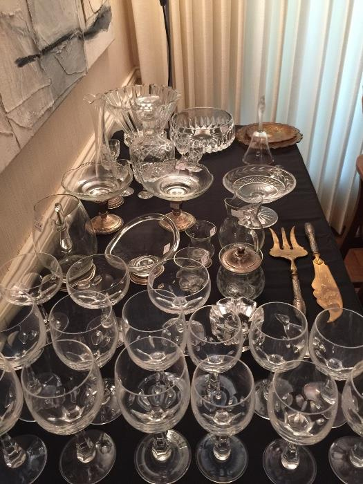 Spode Sonata Stemware. Waterford Bowl, Assorted Crystal with Sterling Bases.