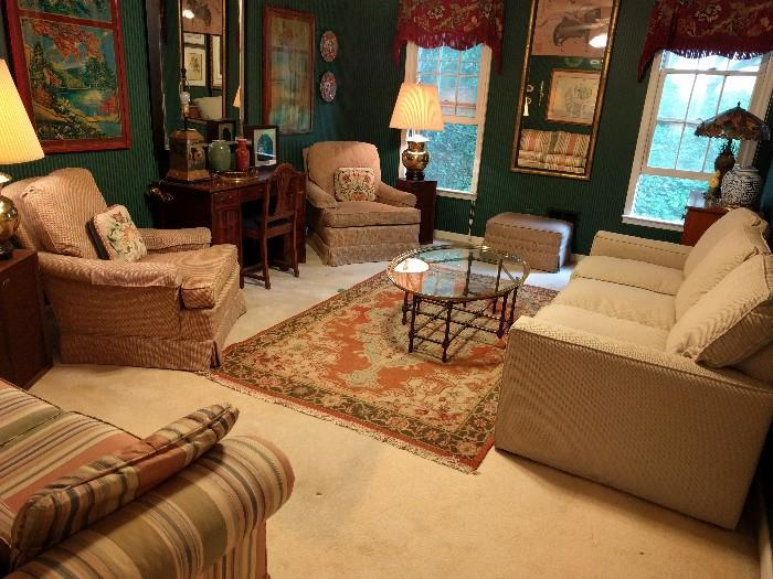Another view of the den, with both Henredon armchairs visible, vintage mahogany writing desk/chair.