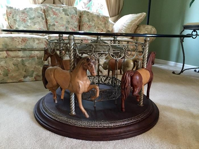 Unique Carousel Coffee/Cocktail Table. Base turns on Lazy Susan.