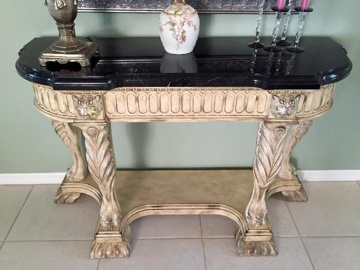 Faux marble top foyer table