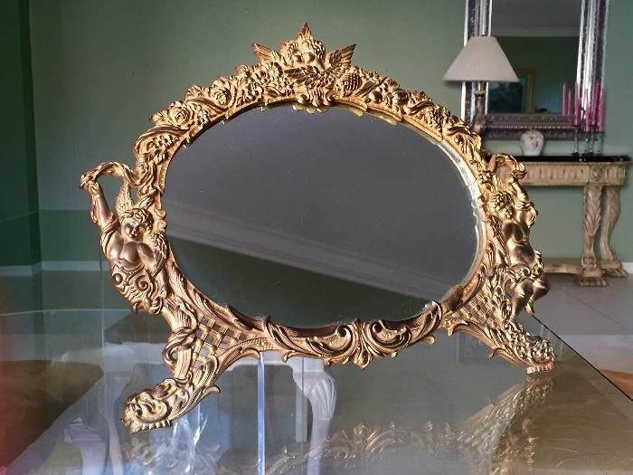 Pretty Victorian gilt table mirror