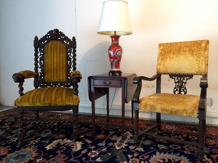 Gothic King and Queen Throne Chairs