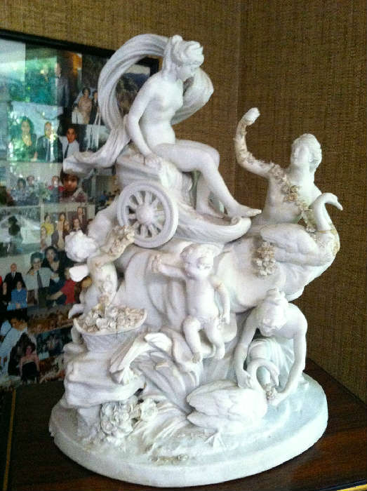 """French White Alabaster Figures Signed by Artist (as is) (20"""" H x 15"""" W)"""