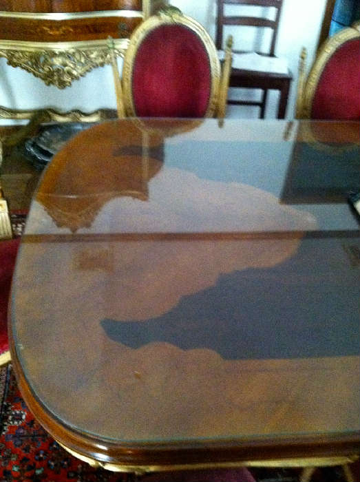 """French Style Carved Dining Table with Inlay with Glass Top, 8 Gold and Red Velvet Side Chairs, Early 20th Century (88"""" x 43-1/2"""")"""