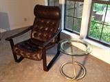 1970's leather arm chair and side table. Yeah baby this is the stuff