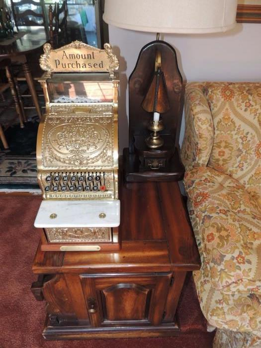 National Cash Register, side table, hand made lamp