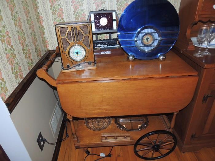 Vintage Tea Cart, Lionel lamp, Thomas Edison Museum radio, Crosley Deco style radio