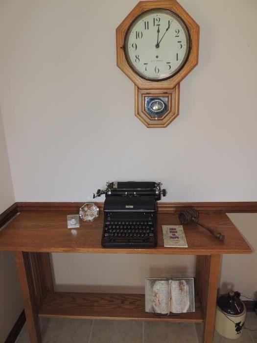 oak console table, Seth Thomas school house clock