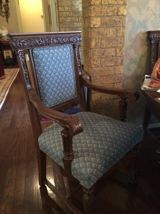 One in a set of six antique chairs