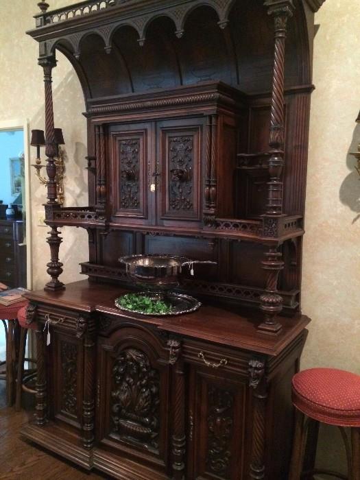 Ornately carved antique breakfront/server