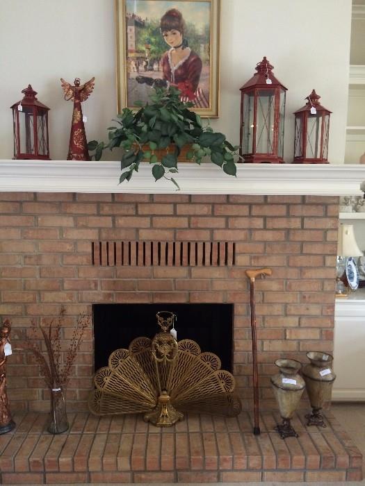 Fan firescreen; decorative lanterns; framed art