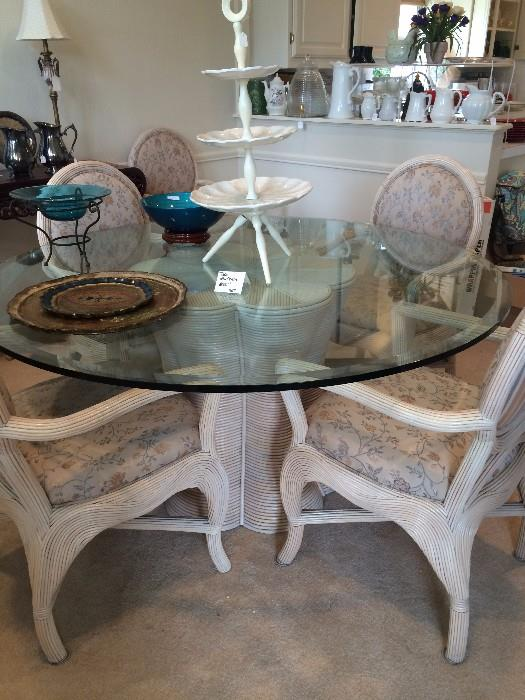 """48"""" beveled glass top table/6 chairs"""