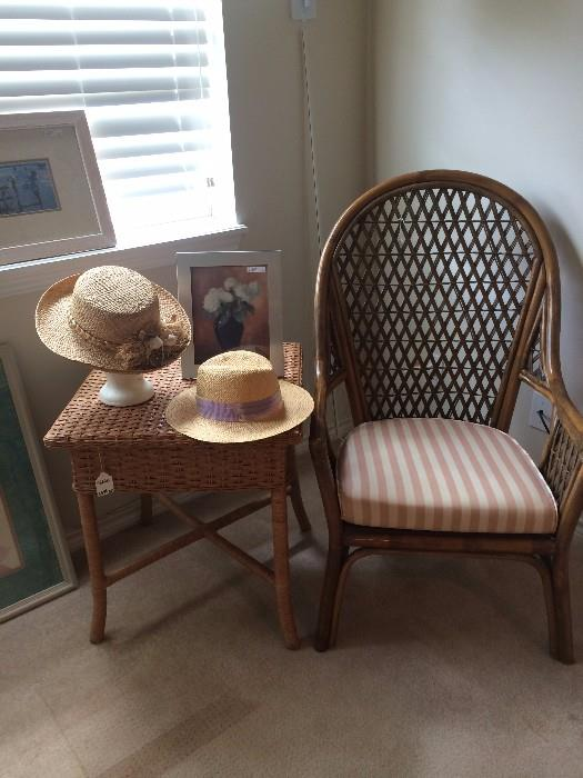 Rattan table and chair; fun summer hats