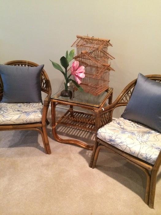 Rattan glass top table and two chairs