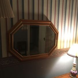 Beveled glass mirror with maple frame