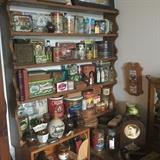 lots of tins, apothecary stuff (hundreds of medicine bottles), stoneware jugs