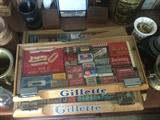 lots of advertising in this sale - here are some vintage shaving blades and original Gillette display cases