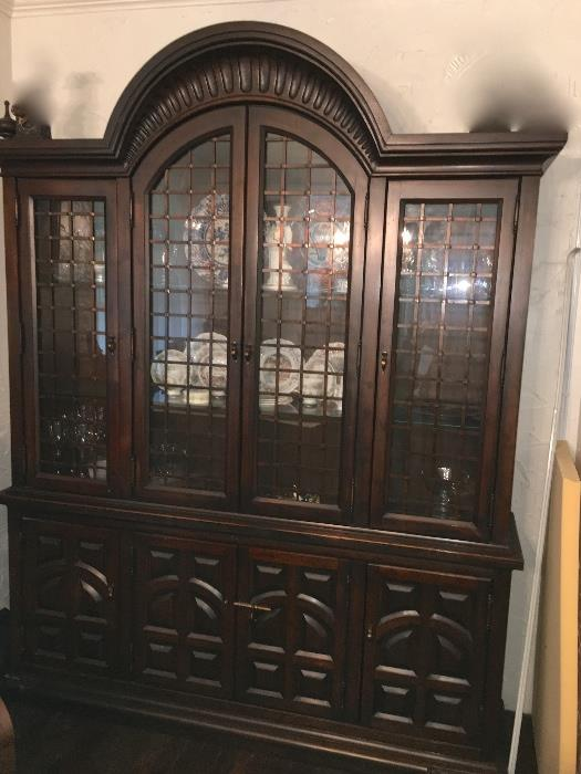 Beautiful c. 1960's china cabinet with iron detail