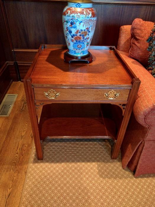 PAIR mahogany side tables, by Hickory Chair Co.