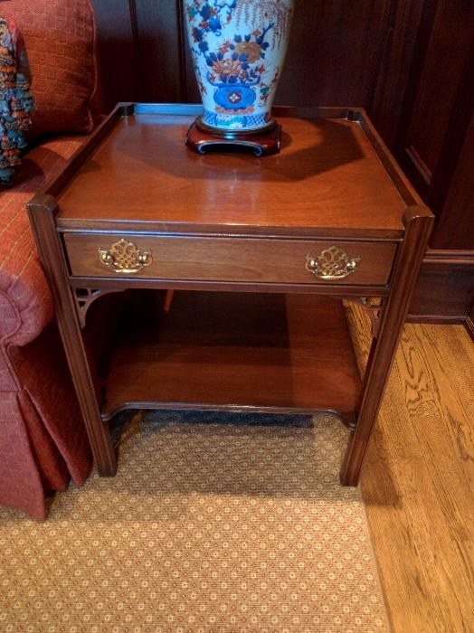 The twin sister of the mahogany side table, by Hickory Chair Co.