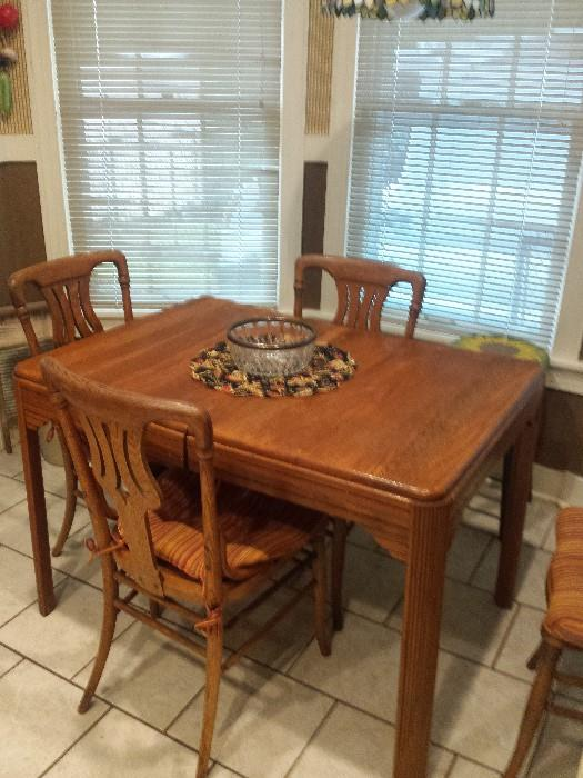 vintage oak table and 4 chairs