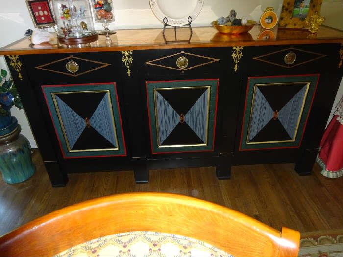 """Ornate Custom Painted Sideboard with Ormulu Details - 77""""W X 20""""D X 39""""H"""