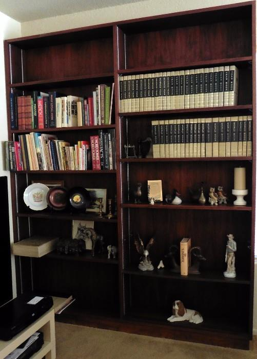 Large double bookcase, books, bookends