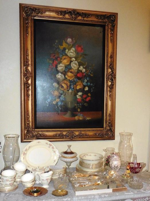 Oil painting, china, gold plates flatware-never used