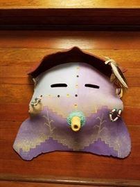 Hopi Spirit Mask - Pottery/Feathers/Beads - Native American Spirit Mask