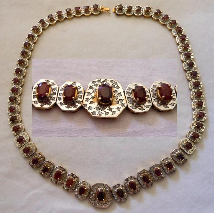 Exceptional & Beautiful 14K White Gold and 53 Natural Rubies Necklace Accompanied by a GIA Certification