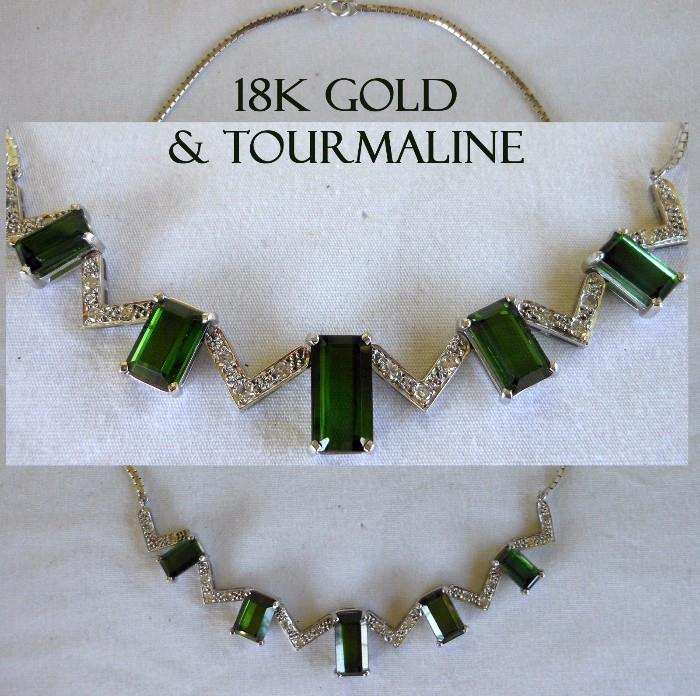 Another Exceptional Piece, an 18K White Gold and Tourmaline Necklace accompanied by a GIA Certification