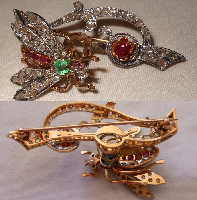 A most Impressive 14K Gold, Ruby, Emerald & Diamond Trembler Brooch accompanied by a GIA Certification