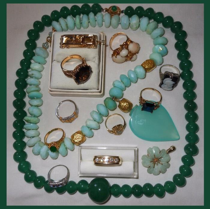 All 14K Gold, Fabulous Jade Necklaces, Cameo Ring is 18K and Bottom Ring is Platinum, Diamonds and Sapphires