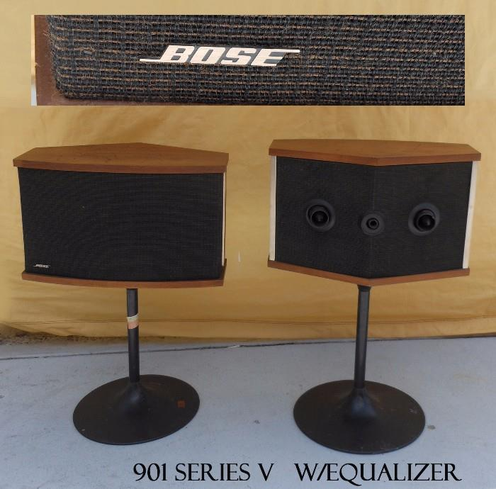 Bose Speakers 901 Series V on their Mid Century Modern Stands, They are accompanied by the Original Bose Equalizer