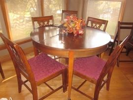Dining Room table w/6 chairs & 3 leaves, Duncan Phyfe, Matching buffet & china cabinet