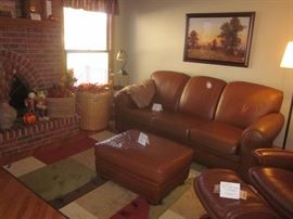 Leather La Z Boy sleeper sofa and ottoman, sleeper sofa