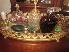 Vanity tray,  perfume & bottles