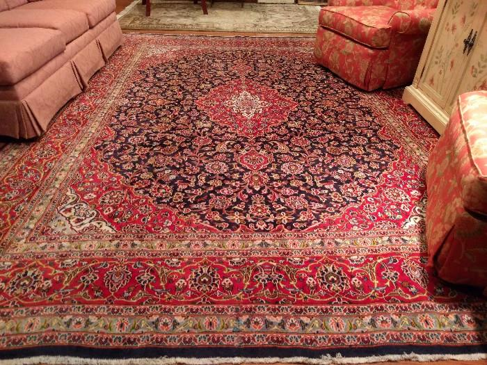 "Unbelievable Persian Kashan, signed ""Zannari"", hand woven, 100% wool, measures 12' 6"" x 9' 6""."
