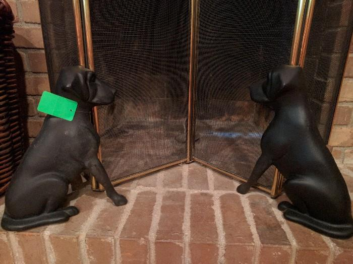 Pair vintage cast iron fire dogs, by Liberty Foundry, St. Louis, MO