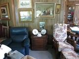 Rocker/Recliner, Vintage Spool Cabinet, Vintage Recliner With Ottoman
