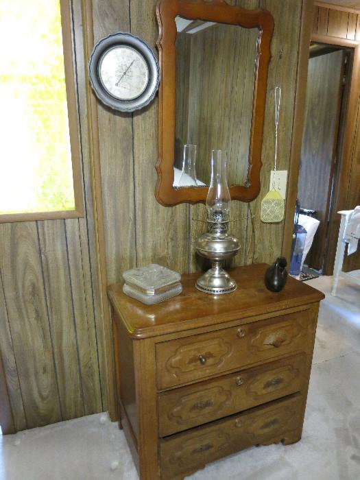 Small Chest Of Drawers, Mirror, Rayo Oil Lamp