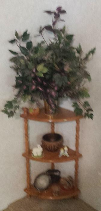 tiered oak display corner table, household decor