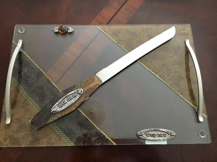 Custom designed glass serving tray with matching knife